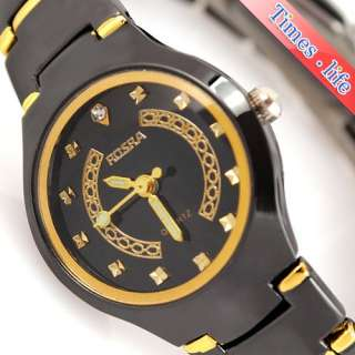 Women Lady Black Face Gold Crystal Quartz Watch Stainless Steel