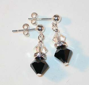 CRYSTAL ELEMENTS Sterling Silver Earrings Jet BLACK & CLEAR AB