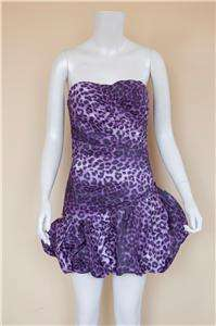 Animal Print Bubble Dress/Brown, Black, Purple