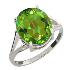 4.80 Ct Oval Envy Green Mystic Quartz Sterling Silver Ring