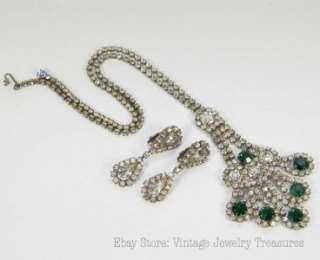 Emerald Green Clear Rhinestone Silvertone Necklace & Clip Earring Set