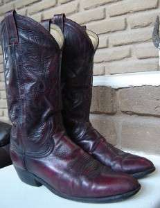 BLACK CHERRY Leather Mens Cowboy Boots. size 9 D GREAT LOOKING