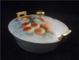 Old HAND PAINT Cherries & Blue Bird COVERED BUTTER DISH
