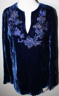 CHICOS Royal Blue Embroidered Velvet Boho LS Shirt Top 1