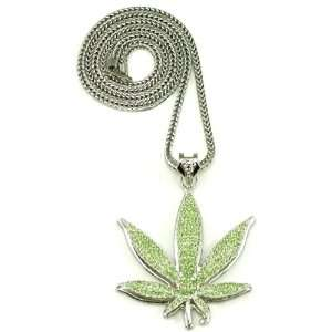 Weed Pot Leaf Iced Out Silver Color Pendant Necklace Large Jewelry