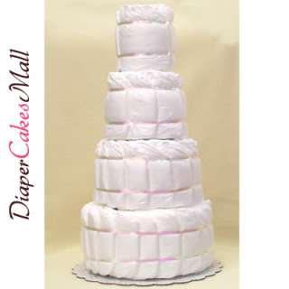 BABY SHOWER Undecorated 4 Tier Diaper Cake  BABY CAKE