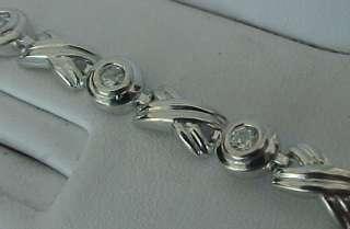 65ctTW Hugs & Kisses CZ Textured Rhodium STERLING SILVER Bracelet (7