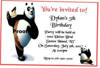 20 Personalized Kung Fu Panda Birthday Invitations