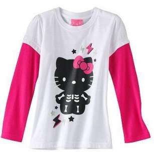Hello Kitty Halloween Long Sleeve Shirt Tee Top SKELETON Size 4 5 6 6X