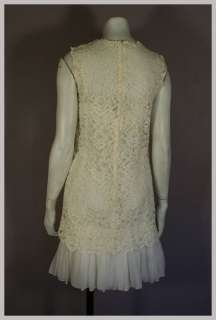 Vintage 60s 2 pc White Silk Chiffon Ruffle & Lace Mini Cocktail Dress