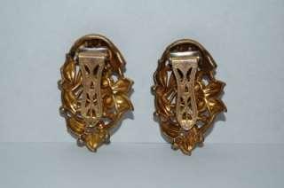 VICTORIAN ART NOUVEAU GOLDTONE & AMETHYST RHINESTONES DRESS CLIPS T55