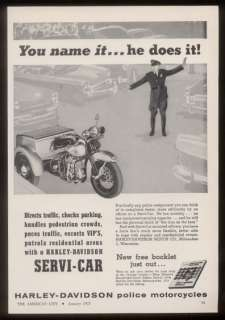 1957 Harley Davidson Servi Car 3 wheel motorcycle ad