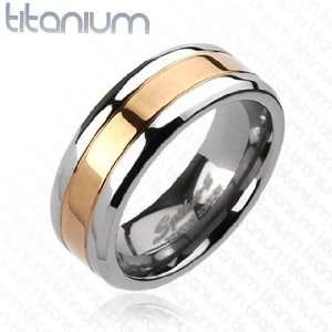 Solid Titanium Rose Gold IP Center Band Ring   Size 9 13