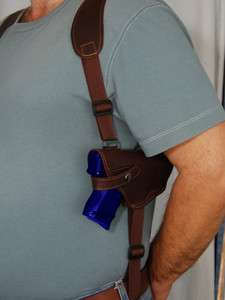 Brown Leather Shoulder Holster w/Double Magazine for S&W M&P9c 40c
