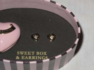 NIB JUICY COUTURE PINK HEART BOX GOLD CZ EARRINGS SET