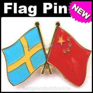 5pcs SWEDEN CHINA Dual Flag Gold Plated Lapel Pin Badge