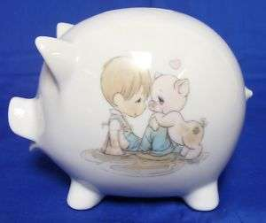 Enesco Precious Moments Boy Pink Hog Pig Piggy Bank