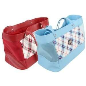 Puppia Dutchess Tote Red Plaid Pet Carrier For Dog or Cat