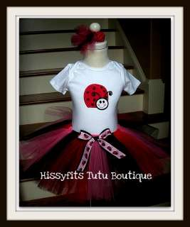 Birthday Lady Bug tutu set dress 12   24M 2T  5T 6Y