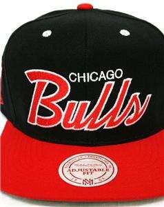 Mitchell & Ness Chicago Bulls Snapback Cap Hat OLD SCHOOL SCRIPT Hat