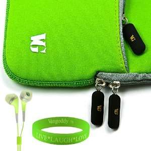 Neoprene Lime Green Carrying Case for HTC Evo 4G + Vangoddy Live