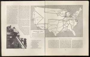1934 Greyhound bus lines USA map print
