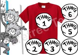 Dr Seuss Thing 1 2 3 4 5 6 Iron on shirt DECAL Transfer