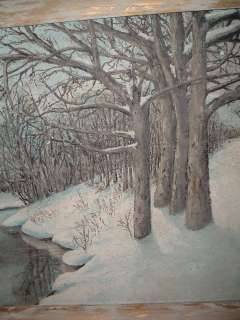 Vintage Robert Stover Reading Pa Oil Painting Woods/Stream/Snow