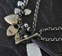 Luv Love Story KEY Lock Hearts Charm Necklace Vtg Inspired Split Chain