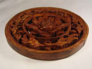 Hand Carved Bali Round Wall Panel Flower Relief ART