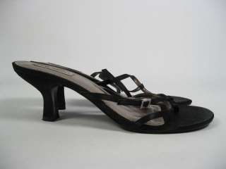 STEVE MADDEN Black Strappy Thong Sandals Heels 9.5 10 M