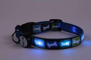 Lighted LED Pet Dog Collar   Steady Glow or Flashing Lights