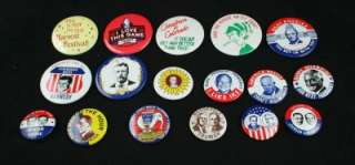 Vintage Lot 17 Campaign And Assorted Lapel Buttons Pins Retro Used