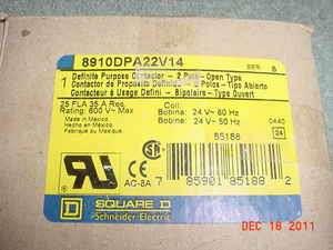 SQUARE D 8910DPA22V14 DEFINITE PURPOSE CONTACTOR ** USA
