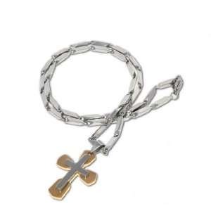 Mens Stainless Steel 21 Inch Cross Pendant Chain Link