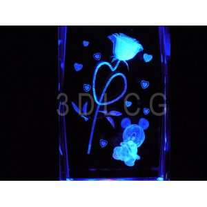 Disney Mickey Mouse with Rose 3D Laser Etched Crystal