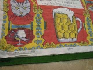 Vintage IRISH LINEN TEA TOWEL Ulster HORSE/RUM POEM