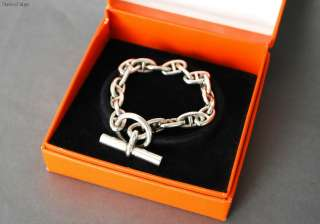 Authentic HERMES Chaine dAncre Toggle Bracelet Sterling Silver 925 w