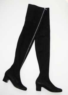 CHANEL Runway Black Stretch Suede Front Zip Over The Knee OTK Boot