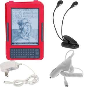 GTMax Red Leather Case with Stand + Black Dual Reading Clip Light
