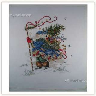 Snowy St. Nick  PREORDER COMPLETED CROSS STITCH SANTA