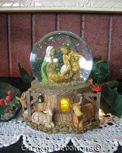 Fontanini MUSICAL NATIVITY CHRISTMAS SNOW GLOBE Silent Night Music Box