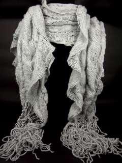 Style Grey Color Crocheted Knit Wrap Shawl Dresser Scarf A11213