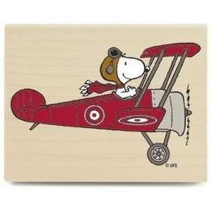 Wood Mounted Rubber Stamp Snoopy Flying High Arts, Crafts & Sewing