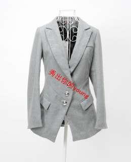 Fashion Korean Women Lapel Woollen Coat Jacket Single Breasted One