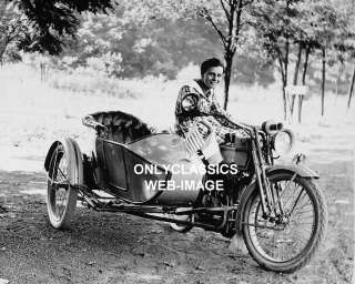 CUTE GIRL HARLEY DAVIDSON SIDECAR MOTORCYCLE PHOTO FLAG