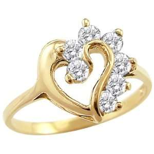 14k Yellow Gold Heart Simulated Diamond Fashion Ring Jewelry