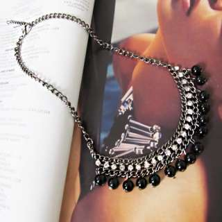 Fashion Black Beads Crystal CZs Pendant Chain Dangle Necklace Jewelry