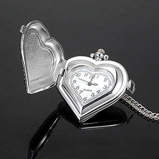Ladies Heart Shape Silver Pocket Necklace Pendant Watch