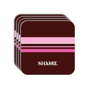 Personal Name Gift   SHAMIL Set of 4 Mini Mousepad Coasters (pink